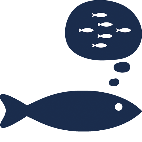 Infographic showing a herring thinking about food